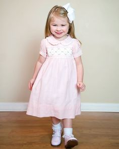 30746be01fd3 Pink linen dress with pink rosette smocking on the chest. Frocks For Girls,  Easter