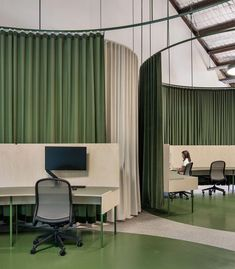 What a creative workspace? Learn awesome ideas… – Home Office Design For Women Bureau Design, Workspace Design, Office Workspace, Office Interior Design, Office Interiors, Office Designs, Commercial Design, Commercial Interiors, Commercial Office Space