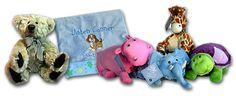 Baby blankets and Zoobies.  http://foreverblanketsandbears.com
