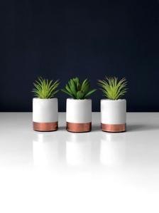 Set of Three Desk Plants Copper Effect Pots Mini Artificial White Planters, Hanging Planters, Planter Pots, Artificial Succulents, Copper Accents, Modern Desk, Handmade Items, Handmade Gifts, Air Plants