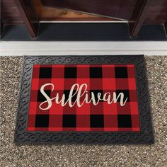 Welcome friends and family to your home this holiday season with a personalized doormat. Our exclusive design is personalized with a name front and center for all to see. Please note that the rubber doormat frame is not included and is sold below. Plaid Christmas, Christmas Home, Rustic Christmas, Winter Christmas, Christmas Wreaths, Christmas Ideas, Large Christmas Tree, Miniature Christmas, Christmas Balls