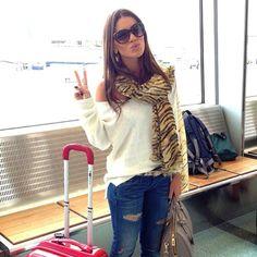 Dica de look confortável para quem vai viajar de avião... Look da lindíssima Camila Coelho.