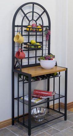 Kitchen Bakers Rack Microwave Stand Bottle Wine Storage Mugs Pantry Plates Shelf #KitchenBakersRack