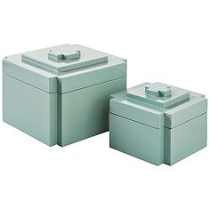 Selamat Asst. of 2 Deco Nesting Boxes Ice Boxes (€87) ❤ liked on Polyvore featuring home, home decor, blue, decorative accessories, blue home decor, blue bowl, contemporary home decor, blue bird houses and lacquer bowl