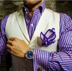 The Ultimate Fashion Statement. Sebastian Cruz Couture Lavender with Purple Signature Border Pocket Square. 100% Handmade in the U.S. Be Bold.