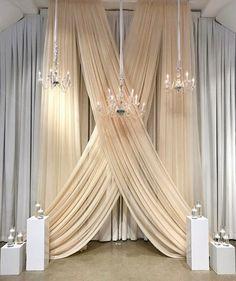 Champagne Ceremony Drape – My Wedding Dream Wedding Draping, Wedding Ceremony Backdrop, Chapel Wedding, Wedding Table, Wedding Backdrops, Tent Wedding, Wedding Aisles, Wedding Ceremonies, Outdoor Ceremony