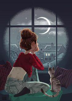Maike Plenzke's website for her Illustration work. Editorial, Portraits, Fashion and children's book illustrations. Art And Illustration, Illustrations, Art Mignon, Moon Art, Crazy Cats, Cat Art, Art Girl, Fantasy Art, Art Drawings