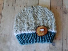 Baby Hat Newborn Beanie in Grey, White and Blue with Beautiful Handmade Wood Button Photo Prop