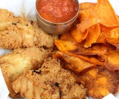 A paleo version of fish and chips that is gluten and grain free!