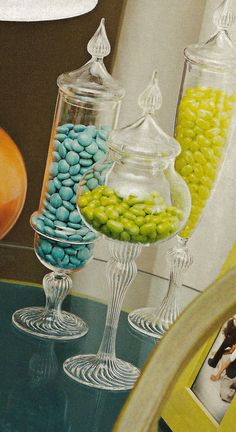 Glass candy vases Glass Candy, Accent Pieces, Vases, Shower Ideas, Turquoise Necklace, Celebrations, Knot, Party Ideas, Baby Shower