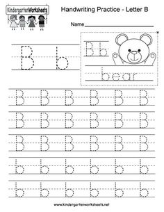 Letter B Writing Practice Worksheet. This series of handwriting alphabet worksheets can also be cut out to make an original alphabet booklet. You can download, print, or use it online. Enjoy!
