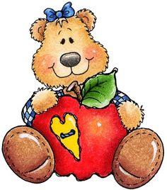 clipart decpoupage Teddy Bear Apple01