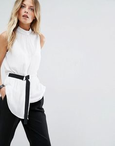 ASOS Minimal Sleeveless Top with Contrast D-ring Detail - White