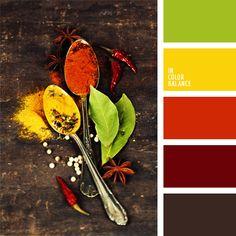 amarillo, amarillo vivo, anaranjado, anaranjado vivo, color chile jalapeño, color naranja rojizo, colores de las especias, combinación de colores, contraste, marrón burdeos, paletas para un diseñador, rojo, rojo oscuro, verde vivo.