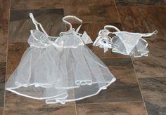 I Do Victoria's Secret 3 Piece Set Bridal Lingerie Teddy Panties Garter Size M