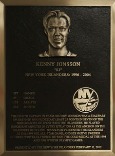 Kenny Jonsson's Hall of Fame plaque.