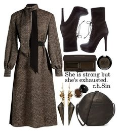 """She is strong but she's..."" by puljarevic ❤ liked on Polyvore featuring Fendi, BAGGU, Miu Miu, Alexis Bittar, Laura Mercier, MAKE UP FOR EVER, Lancôme, chic, brown and dreamydresses"