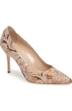 Manolo Blahnik BB Lamé Lace Pump (Women) available at #Nordstrom