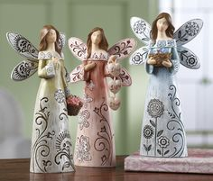 Lot of 3 Sentiment Angel Figurines Collectible 3 pc Spiritual Set NEW Paper Clay, Clay Art, Clay Projects, Clay Crafts, Clay Angel, Pottery Angels, Handmade Angels, Ceramic Angels, Collections Etc