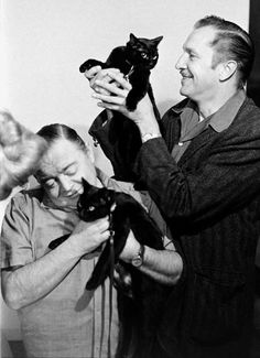 Vincent Price and Peter Lorre assist with auditioning a pair of black cats for TALES OF TERROR (1962).