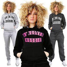 Ladies HANGOVER HOODIE Plain Printed Top Sweatshirt Jumper Womens Cosy Pull Over
