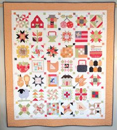 On October 5 , I posted photos of my completed sampler top for the Farm Girl Vintage Sew Along led by Lori Holt of Bee In My Bonnet . Girls Quilts, Baby Quilts, Vintage Quilts, Vintage Sewing, Quilting Projects, Quilting Ideas, Sewing Projects, Dear Jane Quilt, Farmers Wife Quilt