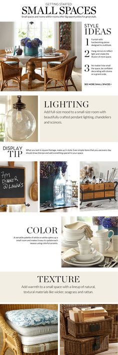 Small Spaces Inspiration & How to Decorate Small Spaces | Pottery Barn  http://www.potterybarn.com/design-studio/decorate/small_spaces.html?cm_type=fnav