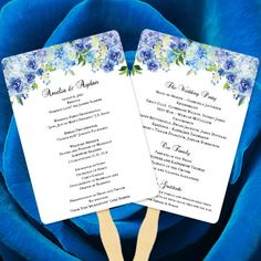 Blue Peony Wedding Program Fan Template Blue Floral Wedding Program - Floral wedding program templates