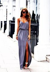 Sexy Backless Summer Boho Long Evening Party Dress - Gray / L