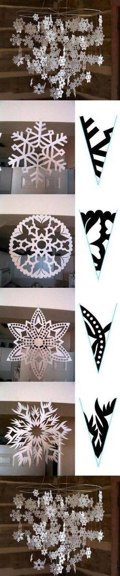 DIY Winter Mobile - pictorial snowflake cutouts