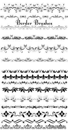 Бордюры из завитков, цветочный декор - векторные кисти для фотошопа
