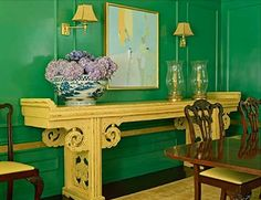 Antique piece in modern yellow with high-contrast brights