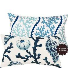 Vitamin Sea Collection - Decorative Pillow Cover -Coral, Shells, Ocean and Sea - Blue, Cream and Off-White Hues - 1 Cover, 2 Looks :     Price: $41.00    .        This ocean inspired beauty will complete the look for any beach themed home decor. Designer textiles are used on both front and reverse sides of this pillow cover allowing you the versatility to change the look and feel of your room by simply reversing the pillow. Each pil...Check Price >> http://gethotprice.com/appin/?t=B008EQ98AK