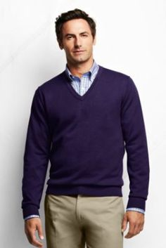 Men's+Fine+Gauge+Supima+Cotton+V-neck+Sweater+from+Lands'+End
