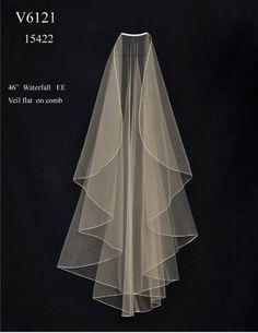 "Beautiful custom made 46"" Waterfall Knee Length Wedding Veil V6121 - Affordable Elegance Bridal -"