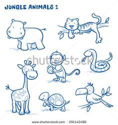 Cute cartoon jungle, safari animals. hippo, tiger, giraffe, monkey, snake, tortoise, bird, toucan. Hand drawn doodle vector illustration.