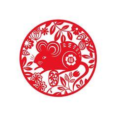 2020 Year of the Mouse. Rat Zodiac, Zodiac Art, Chinese New Year Design, Chinese New Year 2020, Chinese Crafts, Chinese Art, Chinese Food, Pattern Paper, Pattern Art