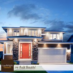 This gorgeous Cortina plan is the perfect mix of contemporary and traditional! #candlelighthomes #utahhomes #utahbuilder #newhomesutah #WeBuildBeautiful #exterior #homeexterior #stone #siding #contemporary #reddoor #home #utah