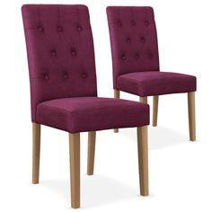 Chaise capitonnée tissu Violet Lani