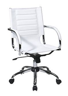 Work Smart/Ave Six Trinidad Office Chair with Fixed Padded Arms and Chrome Finish, White