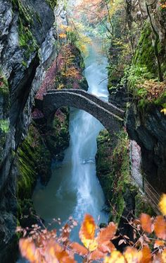"The Areuse Gorge is a beautiful Canyon which lies between Noiraigue and Boudry in western Switzerland.  The stone arch bridge called ""pont du saut du brot"".  Photo: google+.com/VBourrut"