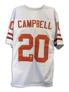 AAA Sports Memorabilia LLC - Earl Campbell Texas Longhorns Autographed  White Jersey Inscribed