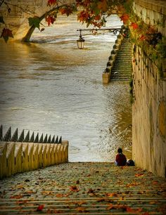 Lonely Kid at bank of River Seine, Paris France