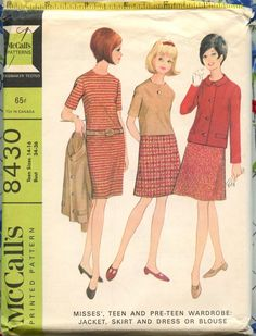 1960s McCalls 8430 Vintage Sewing Pattern Misses Teen Wardrobe Jacket, Skirt and Dress or Blouse Bust 34-36 UC FF. $6.00, via Etsy.