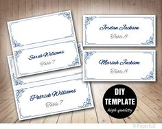 Navy and pink Table Card Template, Wedding Table Card,Frame Insert ...