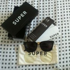 Super people eyeglasses / sunglasses Slightly worn. I bought them as eyeglasses and matched with an extra pair of black lens in an optical shop. So the transparent lens are original Super but not the black ones. You can have both( or not, whatever you like). They come with a lens cloth( unopened) and are contained in a suede bag. Accessories Sunglasses