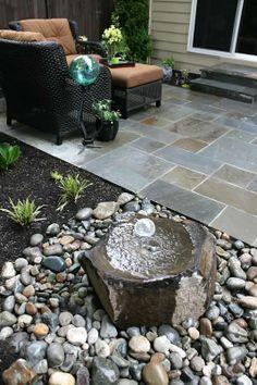 fountain next to patio