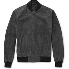 Kilgour Suede Bomber Jacket ($3,835) ❤ liked on Polyvore featuring mens, men's clothing, men's outerwear, men's jackets and grey