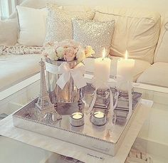 home decor ideas - living room color scheme - soft, warm and simple decoration ideas - pink, silver, gold, and creme colored home decor - interior design for living room with candles decor diy silver Silver Living Room, Glam Living Room, Living Room Decor Cozy, Home And Living, Blush And Grey Living Room, Decor Interior Design, Interior Design Living Room, Living Room Designs, Design Interiors