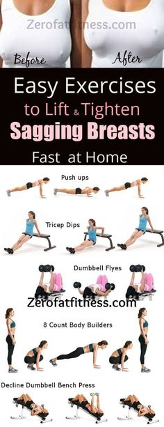 Fitness Best Exercises to Lift Sagging Breasts Fast at Home. Try these home workouts to fix sagging breasts and naturally in 7 days. These easy chest exercises target your upper body to tone and tighten loose and sagging breasts permanently even in Losing Weight Tips, How To Lose Weight Fast, Weight Loss, Stomach Ulcers, Health Benefits, Health Tips, Easy Workouts, Upper Body, No Equipment Workout